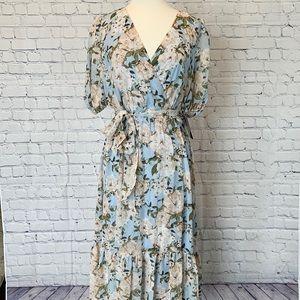 NWT Julia Jordan Faux Wrap Tiered Hem Midi Dress